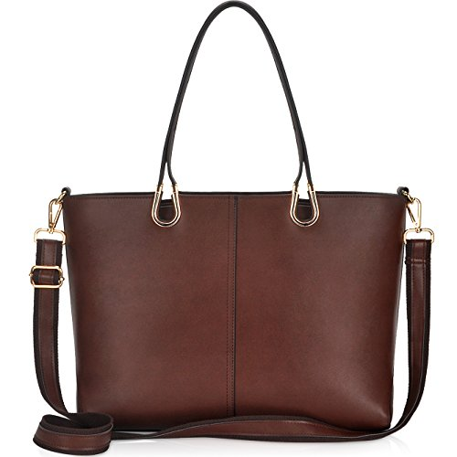 Leather Ladies Laptop Case - Laptop Bag,Casual Business Laptop Bags for Women 15.6 inch,Large Tote Bag Briefcase with Wide Crossbody Strap[L0017/coffee]