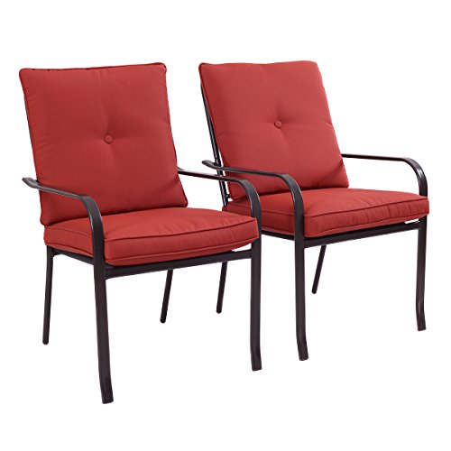 Giantex Set of 2 Patio Garden Chairs Steel Frame Outdoor Furniture Dining w/ Red Cushion(Set Of 2 Chairs) (Clearance Patio Chairs)