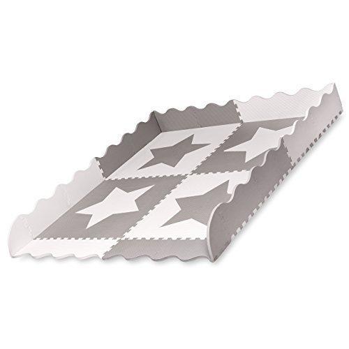 4 grandes azulejos de estrellas de esterilla de juego de beb/é de espuma gris que se enganchan tapetes con bordes Cada azulejo 60 x 60 cms Total 1.2m2