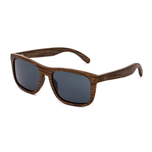 Tree Tribe Wood Rangers Sunglasses - Polarized Lens, Natural Wooden Style + Bamboo Case - Brown Frame with Black Lens (Wood Rangers)