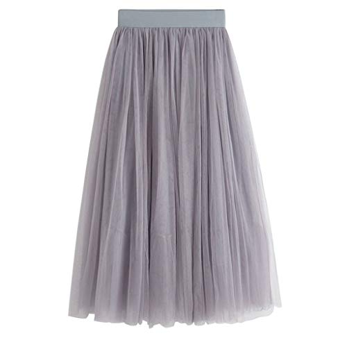 Sendke Women Tutu Skirt Boho Double Layer Maxi Chiffon Long Skirt Tutu Skirt Summer Lady A-Line Skirt Gray]()