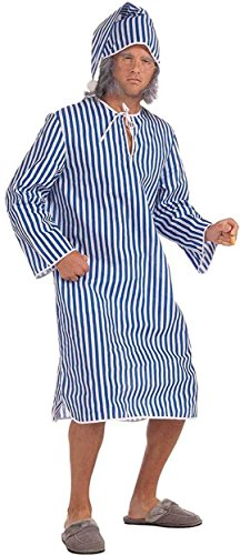 Forum Novelties Men's Plus Sized Scrooge Costume Nightshirt, Blue/White, Plus Size (Adult Plus Size Costume)