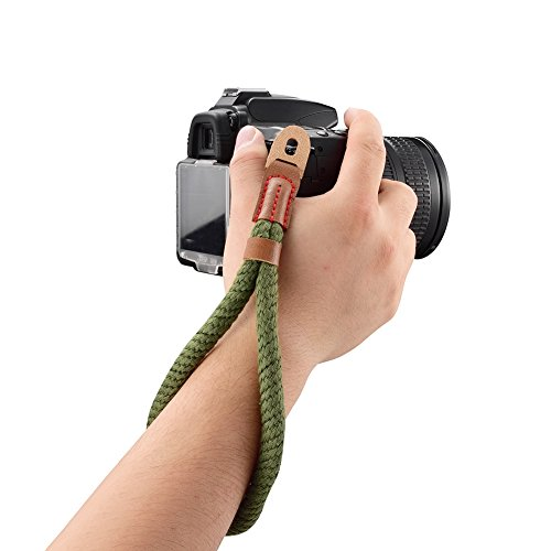 Soft Cotton Camera Wrist Strap,Turpro Soft Cotton With Leather Camera Hand Wrist Strap String for Sony Fuji Canon Olympus Nikon Panasonic Samsung (Army - Leather Camera Strap Wrist