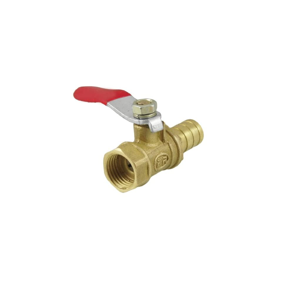 uxcell 1/4 PT Female Thread to Hose Tail 10mm OD Gas Flow Hole Ball Valve Gold Tone