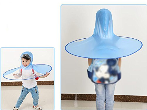 ZJM-umbrellas Head-mounted Kids Raincoat Summer Kindergarten Novel Waterproof Waterproof Children Ventilate (Color : Blue, Size : S) by ZJM-umbrellas (Image #1)