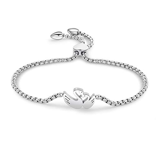 HongChang Link Bracelet for Women, Adjustable Charm Bracelet Rose Gold Stainless Steel Chain Bracelet for Best Friend (#3 Little Swan, Steel Color)