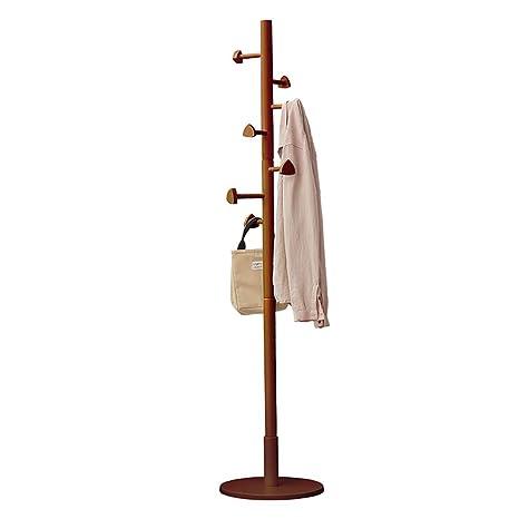 COAT RACK Perchero de Madera Maciza para Abrigos, diseño Minimalista, 7 Ganchos para Chaqueta