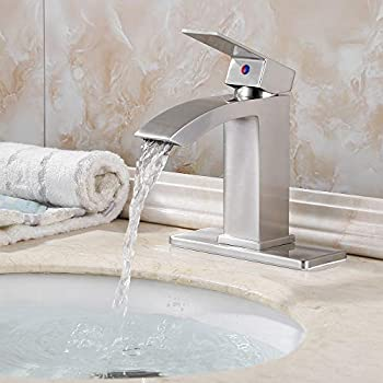 EZANDA Brass Waterfall Bathroom Faucet with Extra Large Rectangular Spout, Deck Plate, Pop-up Drain Assembly & Water Supply Hoses Included, Brused Nickel, 14169