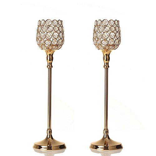 VINCIGANT Sparklers Gold Crystal Candle Holder Sets Modern Centerpieces for Anniversary Celebration Decorations - Candle Holder Beaded