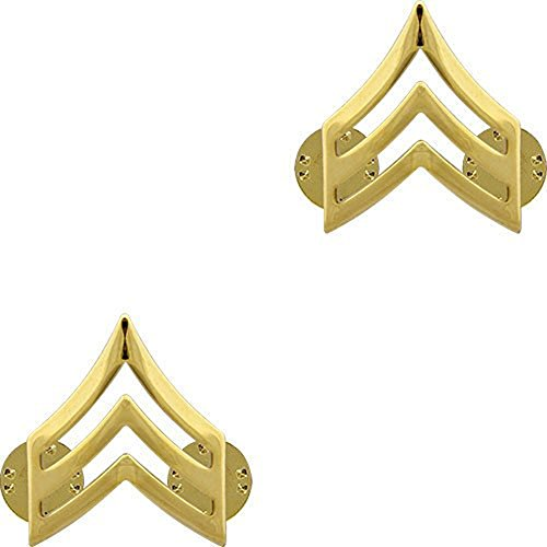 (Make Your Uniform Look Sharp! SGT Army Collar Pins 22K Gold Plated Pair)