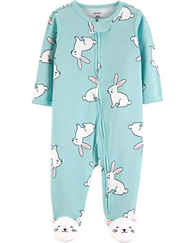 Baby Bunny Pajamas (Baby Girl's Blue Bunny Cotton Footed Pajama Sleeper, Sleep 'n Play (6)