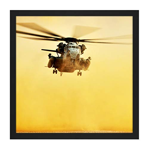 (Military USA Marine Corps CH-53E Super Stallion Helicopter Photo Square Wooden Framed Wall Art Print Picture 16X16 Inch)