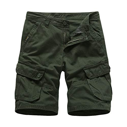 Sunyastor Men's Summer Cotton Relaxed Fit Beach Shorts Outdoor Multi-Pocket Hiking Pants Sports Casual Trunk Cargo Shorts Army Green (Relaxed Short Training)