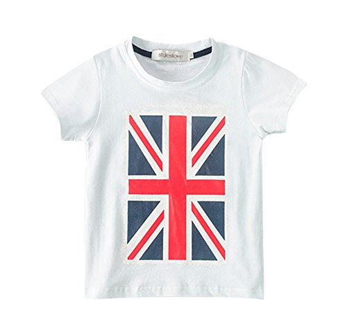 stylesilove Boys American British Country Flag T-Shirt (140/6-7 Years, UK Flag ()