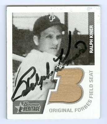 Ralph Kiner autographed Baseball Card (Forbes Field) Tan seat Pittsburgh Pirates 2001 Bowman - Forbes Field Baseball