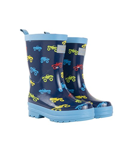 Hatley Boys' Printed Rain Boots Raincoat, Colorful Monster Trucks, 11 US -