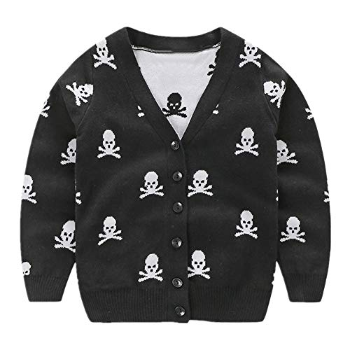 LittleSpring Little Boys Cardigan Sweater V-Neck Skull Black Size 6 ()