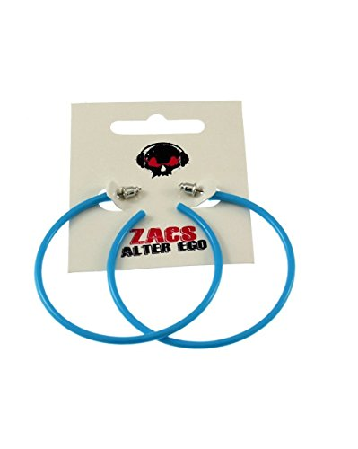 Zac's Alter Ego Women's Plastic Hoop Stud Earrings For Fancy Dress - 80S/ Pop/ Clubbers 6.5Cm Diameter Turquoise