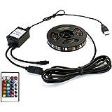 USB 防水 LEDテープライト 黒ベース リモコン調光機能付き DC5V RGB16カラー 30cm 1way