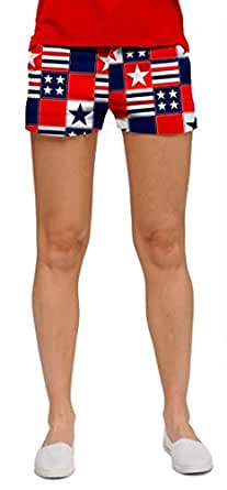 Loudmouth Golf Womens Mini Shorts: Betsy Ross - Size 0
