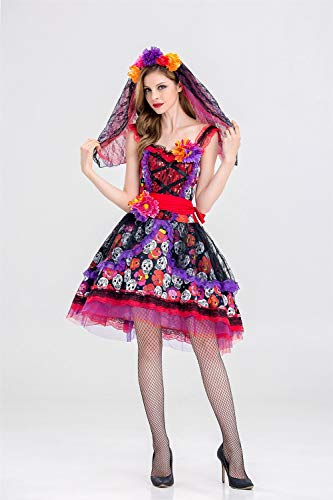Ruanyi Halloween Costume Gothic Vampire Costume Halloween Queen Dress Dark Ghost Bride Stage Dress for Women (Size : XL)
