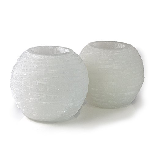 Beverly Oaks Energy Infused Selenite Lamps - 2 Selenite Crystal Snowballs with Cool White LED (Candle Energy Lamp)