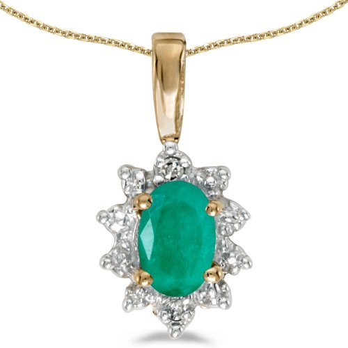 14k Yellow Gold Oval Emerald And Diamond Pendant with 18