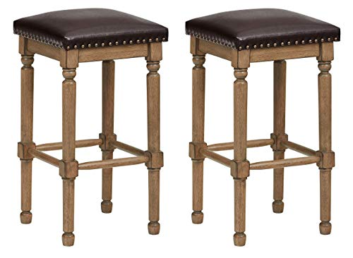 Ravenna Home Ferris Nailhead Wood Detailed Counter Stool, 26.75