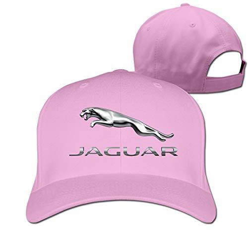 Censu Customized Cool Jaguar Logo Adjustable \r\n Flat Baseball Cap for Unisex,Pink