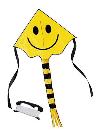 Mayco Bell Smiling Face Kite for Children Kids with Handle Line Outdoor Sports Smiley Animation Flying Kites (Yellow)
