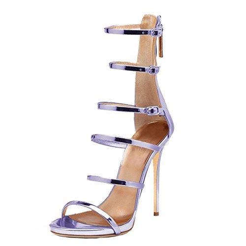Calaier Mujer Capiano Tacón De Aguja 11.5CM Sintético Cremallera Sandalias de vestir Zapatos Morado