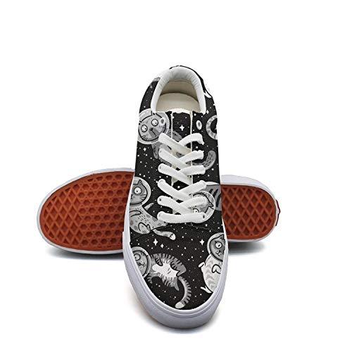 LadyBlack Mini Space Astronaut Cat Canvas Shoes Low-Cut Straps Funky Sneakers Suitable for Walking