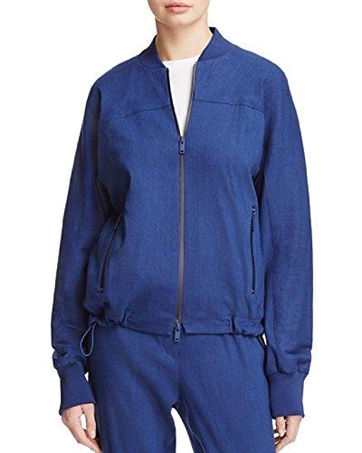 Dkny Puffer Jacket - DKNY Womens Woven Ribbed Trim Bomber Jacket Navy L