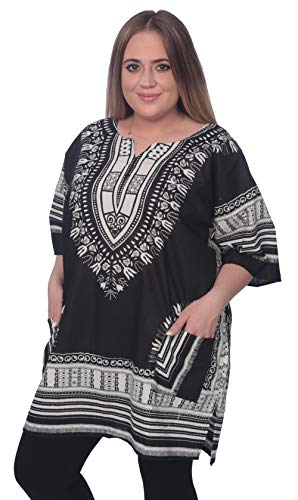 Mitchell Lewiss Dashiki-Style Tunic Top One Size Fits Most - Free Size (Black/Gray) ()
