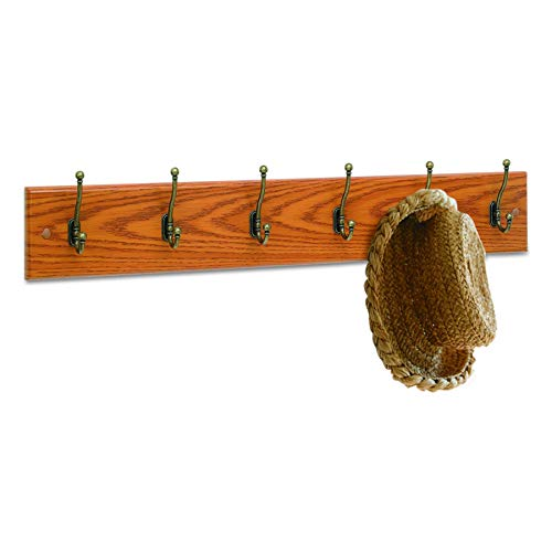 Safco Products 4217MO Wood Wall Rack, 6-Hook, Oak/Brass