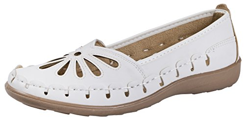 3 Faux Out Dora Pumps Casual Size Work Leather Cut Driving Lora UK Comfort Womens Sandals 8 White Loafers wUXdnFqZF