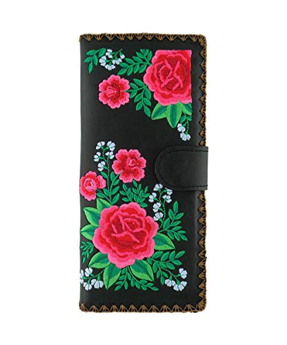 LAVISHY Embroidered Mexican Rose Vegan/Faux Leather Large Flat Wallet (Black) Colorful Mexican Folk Art