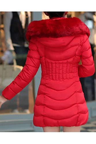 Pluma Retro Manga Plumas Bolsillos Cremallera Mujer Larga Sólido Sintética Color Casuales Otoño Abrigos Laterales Rojo Fashion Chaqueta Cuello Parkas Invierno De Piel Acolchada Encapuchado S46Wx1wZ4q