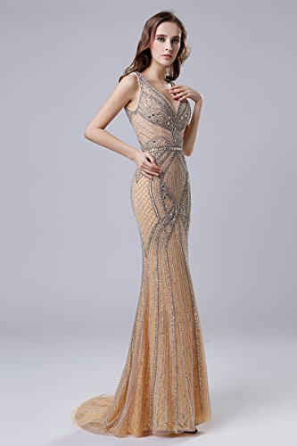 Crystal House Pageant Neck V Beads Lx421 Dress Women's Mermaid Belle Gown Evening champagne EqXwzdc