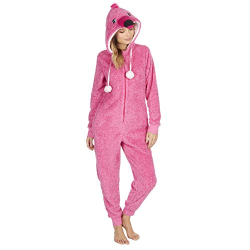 (Ladies Super Soft Snuggly Novelty Flamingo Onesie/Sleepsuit (M/L Approx US 8-12))