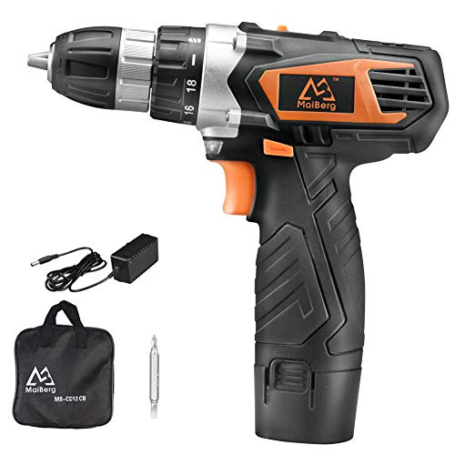 Cordless Drill, 12V Cordless Drill Driver with 1.5Ah Batteries, Fast Charger 1.3A, 18+1 Torque Setting, 2-Variable Speed Max Torque 200 In-lbs, 3/8″ Keyless Chuck