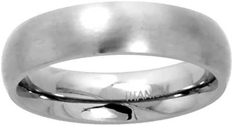Titanium Plain Wedding Band / Thumb Ring 5mm Domed Comfort-Fit Matte Finish, sizes 5 - 12