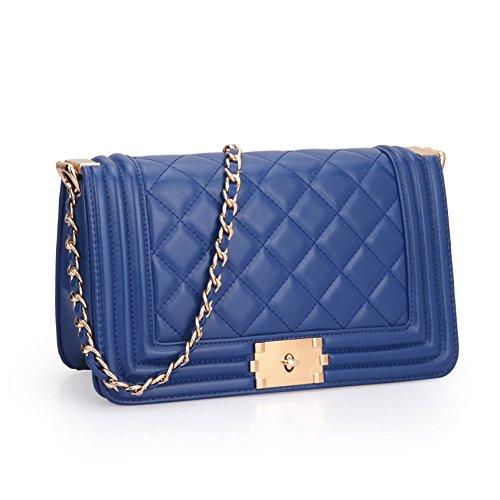 Dasein Women's Designer Quilted PU Leather Twist Lock Crossbody Bag Shoulder Bag Fashion Handbags w/ Chain Strap (Blue)