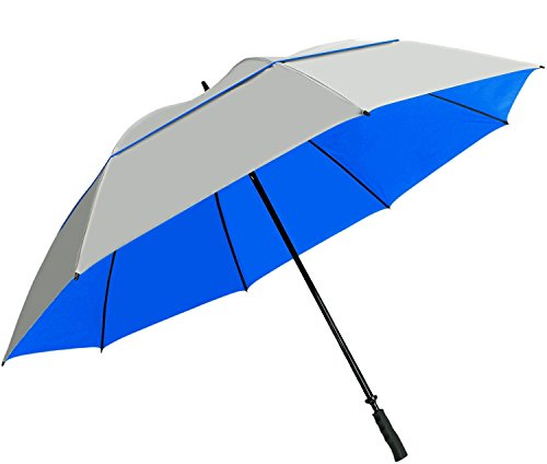 "Suntek 68"" Reflective UV Protection Windcheater Umbrella with Vented Double Canopy (Silver/Blue) ()"