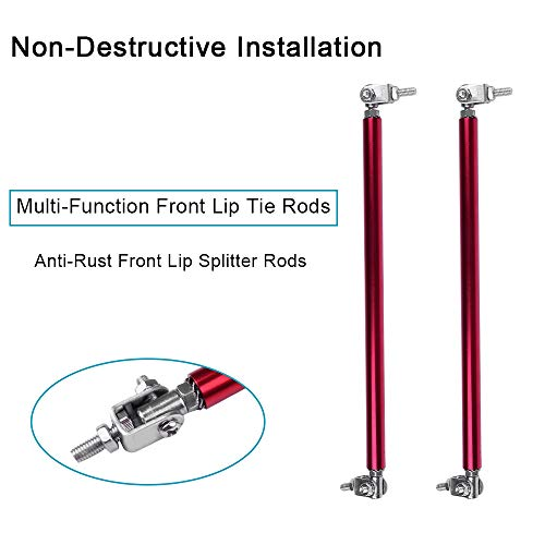 cciyu 2PCS Adjustable Front Lip Rod Bumper Lip Splitter Tie Rod Bars 5.91-11 Inch