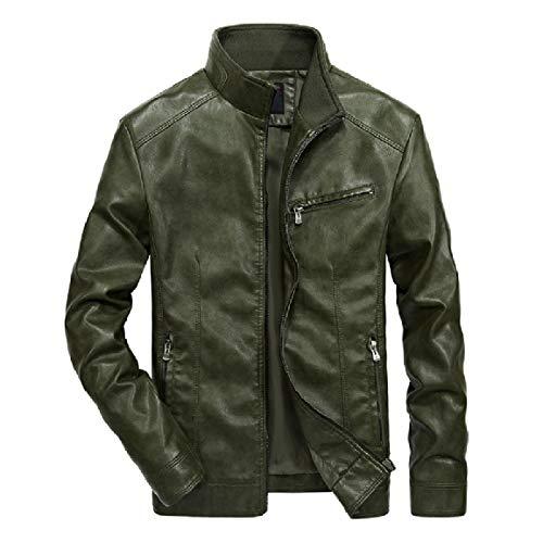Moto Trench Leather Mogogo 7 Leather Coat Solid Mens Leisure Casual wqwxOSgC
