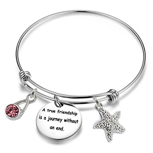 YOYONY Inspirational/motivational/LOVE/Memorial/Thankful/Beauty/Praise/Religious/Friendship Meaningful Message Charm Bracelets (A true friendship is a journey without an end)