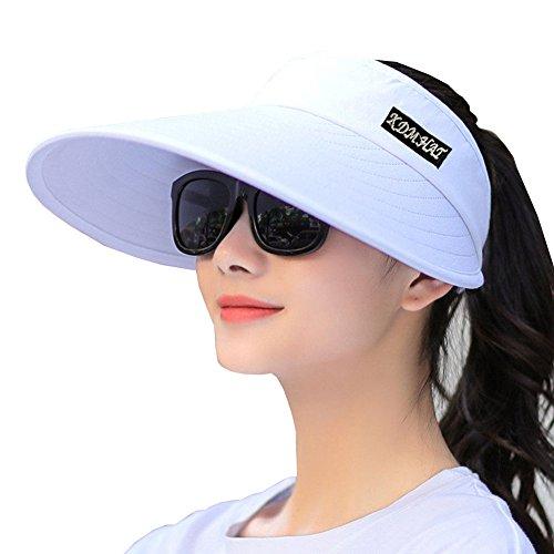 Visors And Golf Hats (Sun Visor Hats Women 5.5'' Large Brim Summer UV Protection Beach Cap (All White))