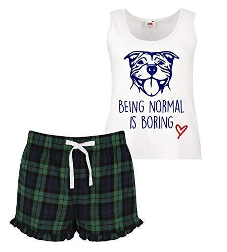 Pijama Bull es Conjunto Staffordshire aburrido normal Terrier Staffy Amor Ruffle Mujeres escocesas Ser Corto A7qExw8