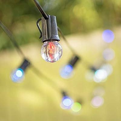 LED Globe String Lights, G30 Bulb, 100 ft Black Wire, Color Changing